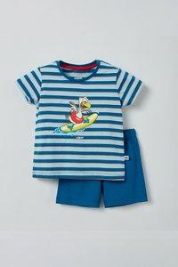 211-3-PSS-S/983 Unisex pyjama, blauw-rood gestreept
