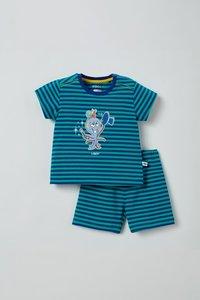 211-3-PZA-Z/974  Unisex pyjama, blauw-groen gestreept