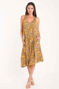 DB21-083 MULTICOLOR Saffron- Fomentera sleeveless dress