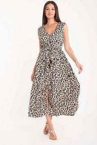 DB21-89 MULTICOLOR Leopard-Antigua sleeveless dress