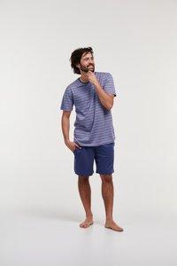 Heren pyjama,blauw beige gestreept 211-1-MRS-S/978